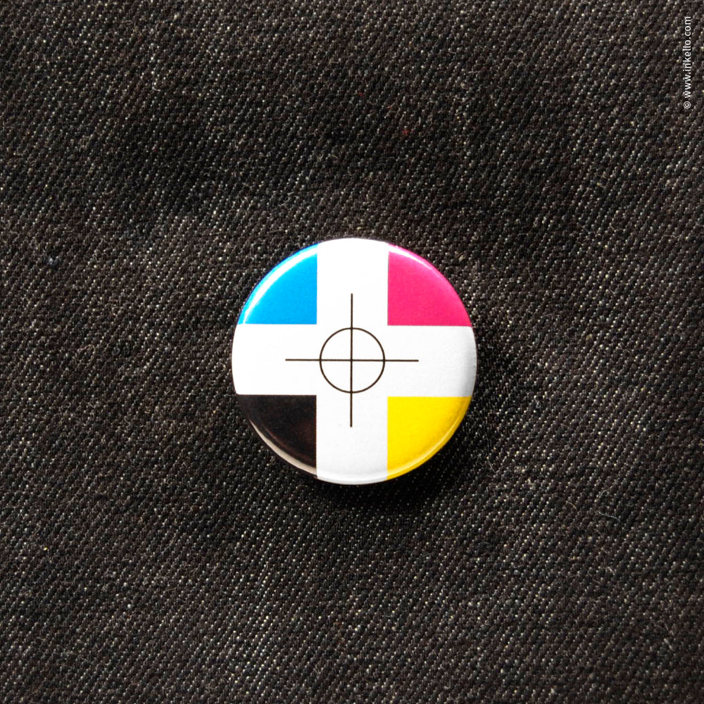 Front of Inkello CMYK Registration Mark 1 1/4 inch Button With Pin - 608