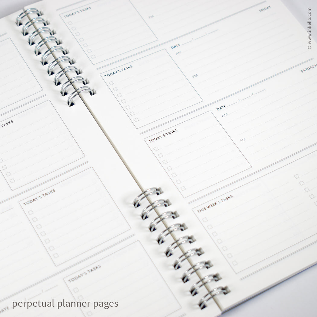 Weekly Planner with Red Cover and Silver Script Design (#492)