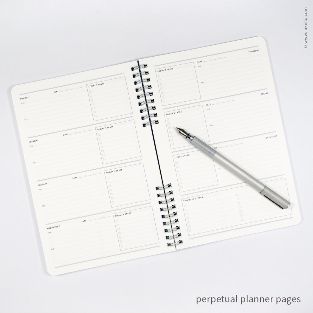 Weekly Planner with Periwinkle Cover and School Cursive in Silver Ink (#525)