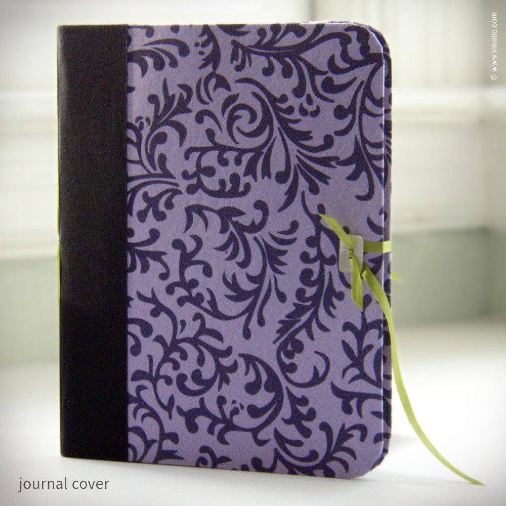 Lavender, Black & Green Journal with Shell Button Closure {#108}