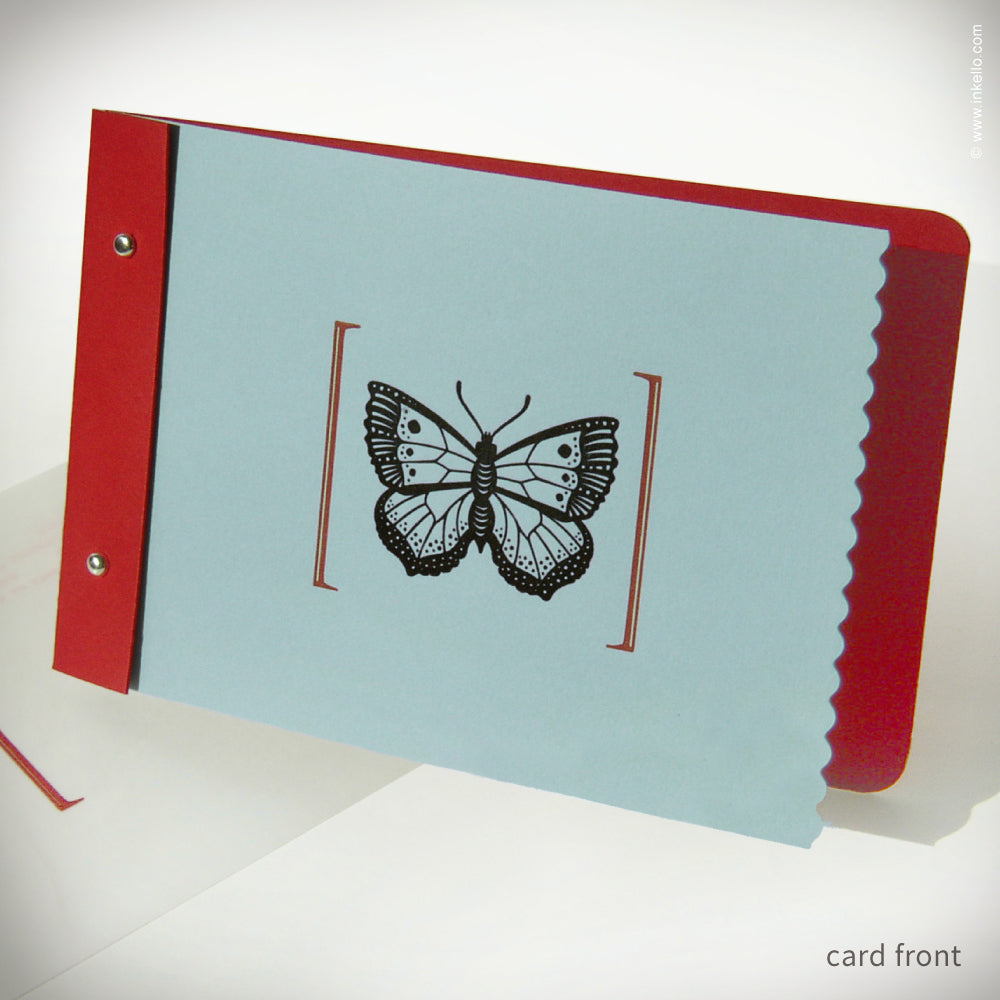 Red & Blue-Green Butterfly Card {#133}