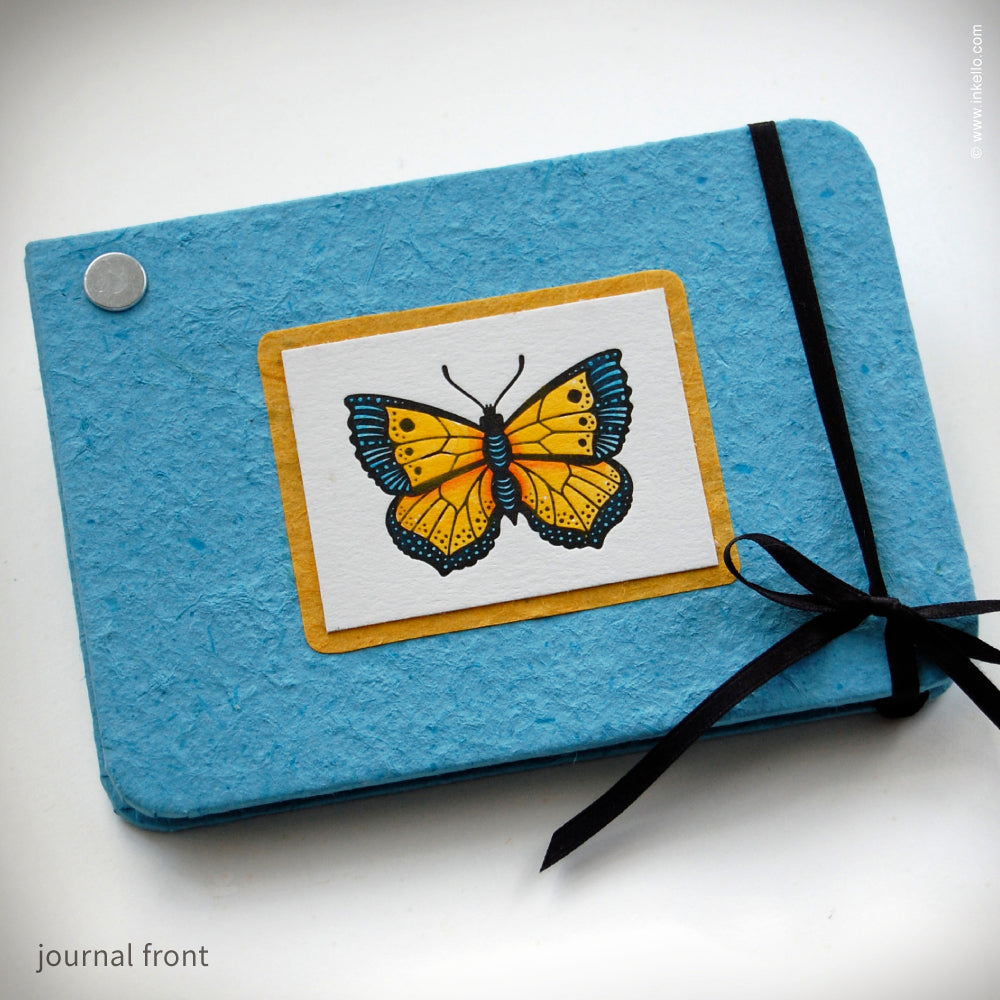 Blue and Yellow Butterfly Twist Journal {#232}