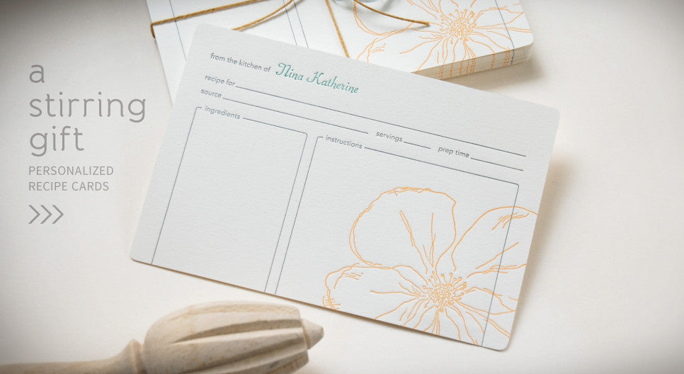 A Stirring Gift. Personalized Recipe Cards >>>