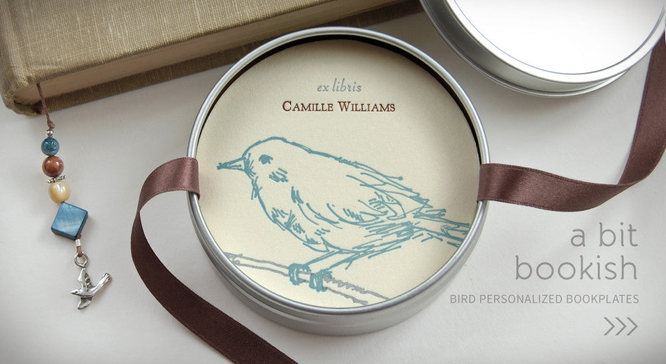 A Bit Bookish. Bird Personalized Bookplates >>>