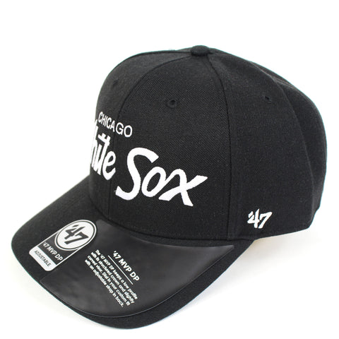 47 Brand Chicago White Sox Black Replica Script 47 MVP DP Snapback