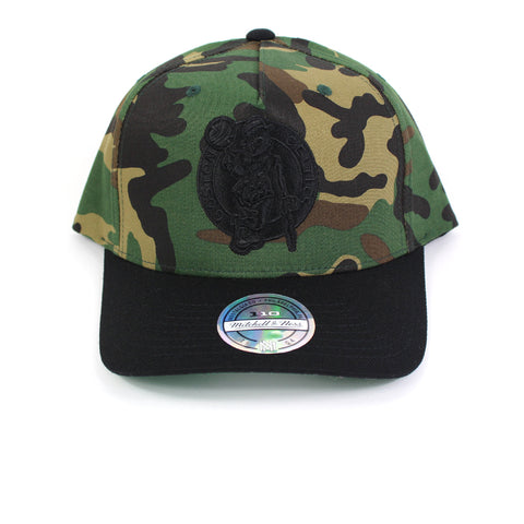 Mitchell and Ness Boston Celtics Goldwich Camo Pinch Panel Snapback
