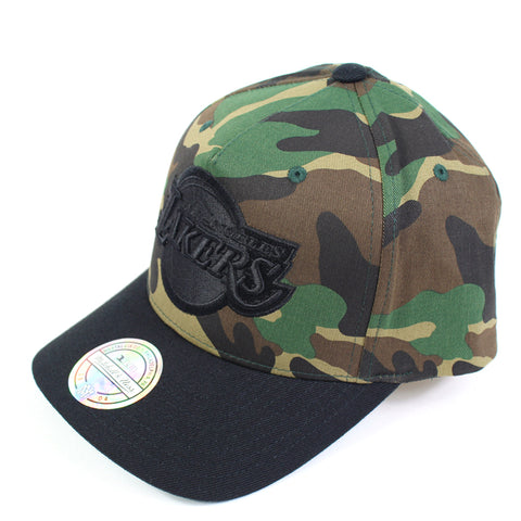 Mitchell and Ness LA Lakers Goldwich Camo Pinch Panel Snapback