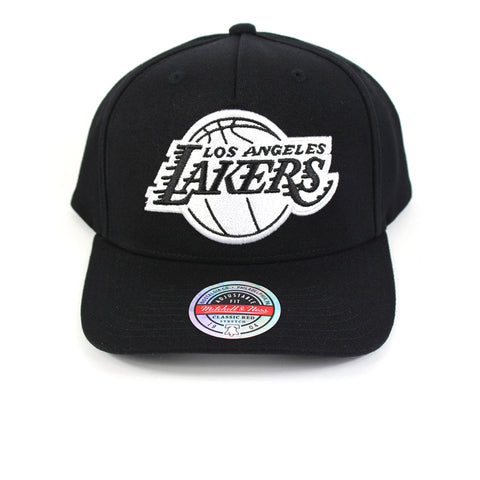 Mitchell and Ness LA Lakers Black White Logo Redline Snapback