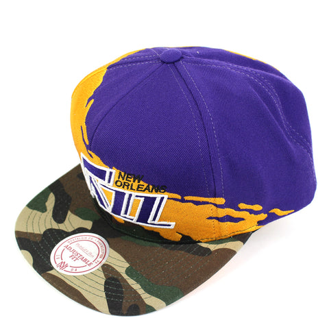 Mitchell and Ness New Orleans Jazz Camo Paintbrush Snapback