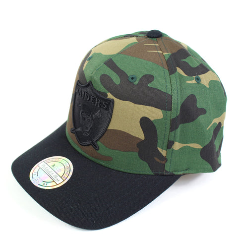Mitchell and Ness Oakland Raiders Goldwich Camo Pinch Panel Snapback