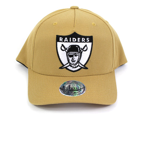 Mitchell and Ness Oakland Raiders Wheat 110 Curved Snapback