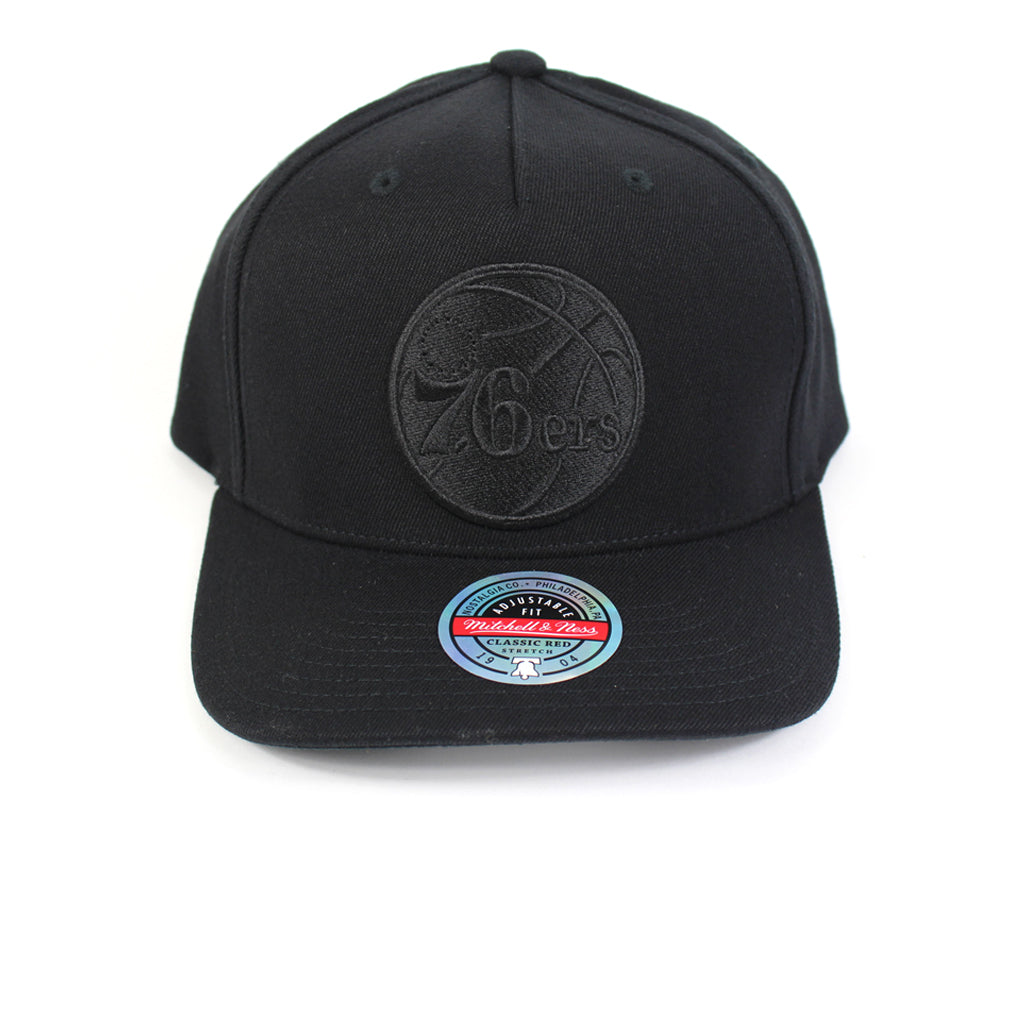 Mitchell and Ness Philadelphia 76ers Black Black Logo Redline Snapback
