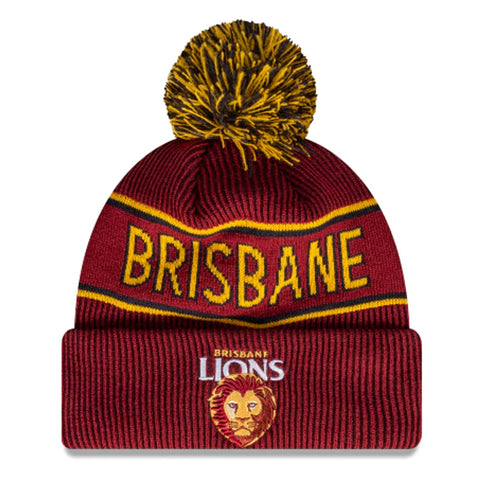 Brisbane Lions Beanie Maroon AFL 2021 Authentic Pom New Era