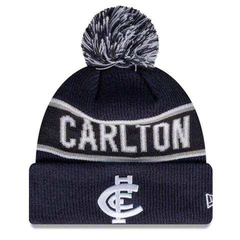 Carlton Blues Beanie Navy Blue AFL 2021 Authentic Pom New Era