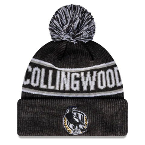 Collingwood Magpies Beanie Black AFL 2021 Authentic Pom New Era