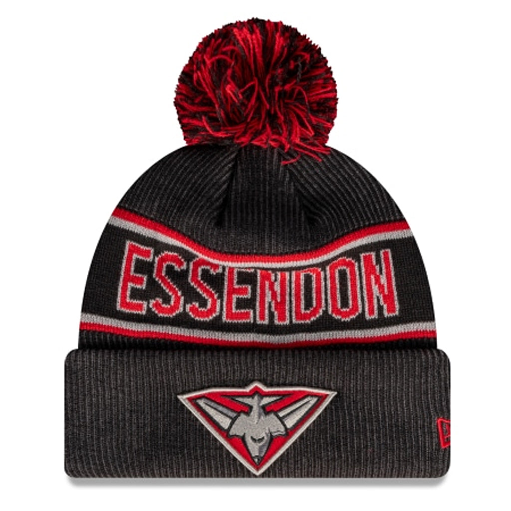 Essendon Bombers Beanie Black AFL 2021 Authentic Pom New Era