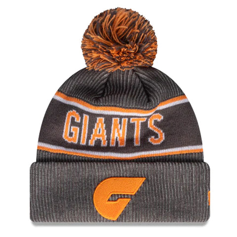 GWS Giants Beanie Grey AFL 2021 Authentic Pom New Era
