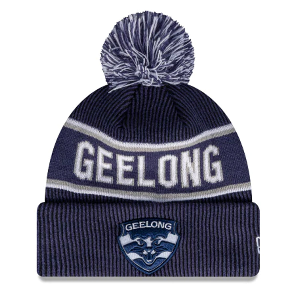 Geelong Cats Beanie Blue AFL 2021 Authentic Pom New Era