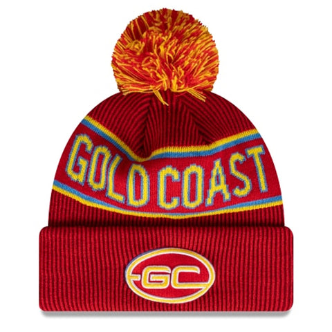 Gold Coast Suns Beanie Red AFL 2021 Authentic Pom New Era