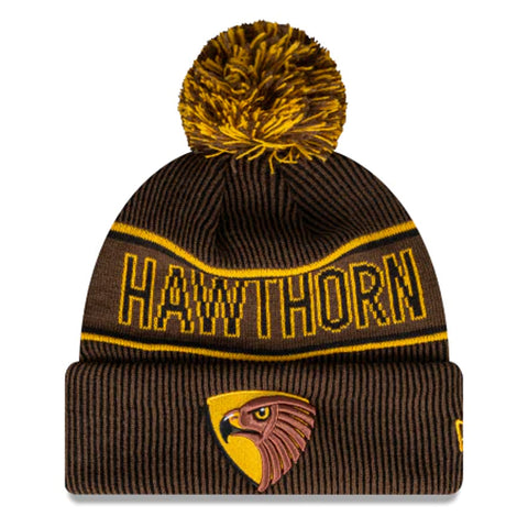Hawthorn Hawks Beanie Brown AFL 2021 Authentic Pom New Era