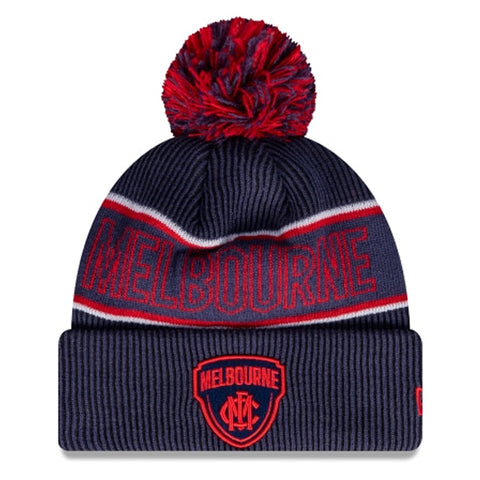 Melbourne Demons Beanie Navy Blue AFL 2021 Authentic Pom New Era