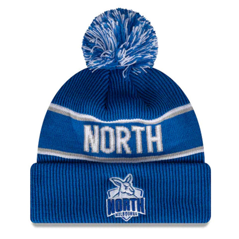 North Melbourne Kangaroos Beanie Blue AFL 2021 Authentic Pom New Era
