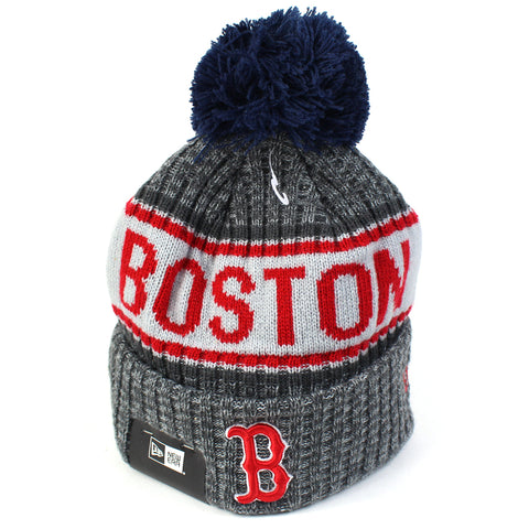 Boston Red Sox Beanie Heather Grey Marle Pom Knit New Era