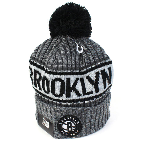 Brooklyn Nets Beanie Heather Grey Marle Pom Knit New Era