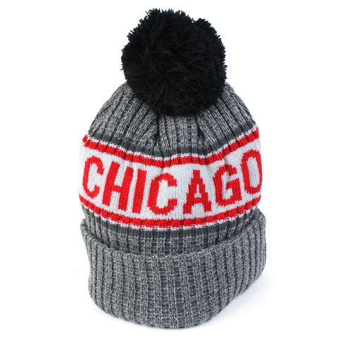 Chicago Bulls Beanie Heather Grey Marle Pom Knit New Era
