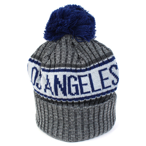 LA Dodgers Beanie Heather Grey Marle Pom Knit New Era