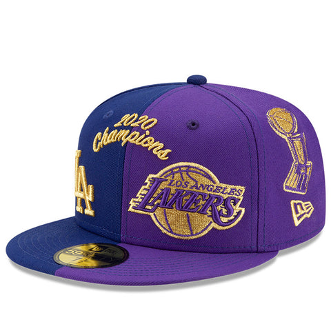 Los Angeles Hat Purple & Blue 2020 Champions Lakers & Dodgers Fitted New Era