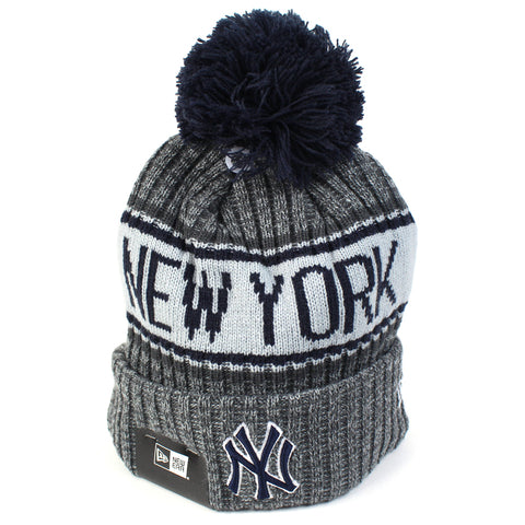 New York Yankees Beanie Heather Grey Marle Pom Knit New Era