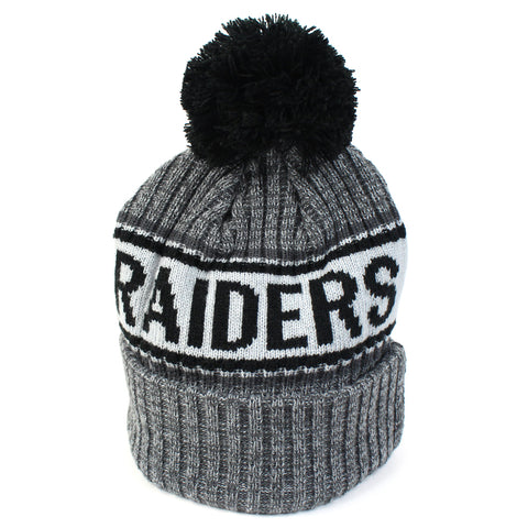 Oakland Raiders Beanie Heather Grey Marle Pom Knit New Era