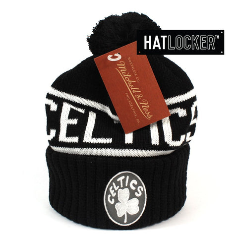 Mitchell and Ness Boston Celtics BW Logo High 5 Bobble Knit Beanie