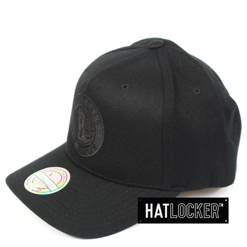 Mitchell & Ness Brooklyn Nets All Black Logo Curved Snapback