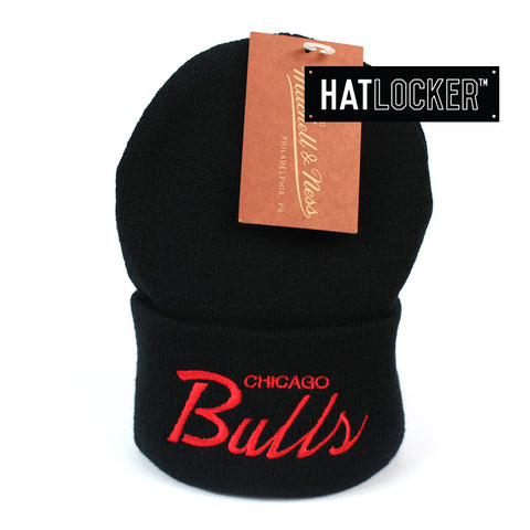 Mitchell and Ness Chicago Bulls Special Script Black Knit Beanie