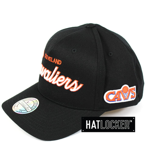 e38427a8171 Mitchell   Ness Cleveland Cavaliers 110 Script Colour Pop Curved Snapback