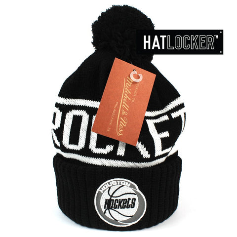 Mitchell and Ness Houston Rockets BW Logo High 5 Bobble Knit Beanie