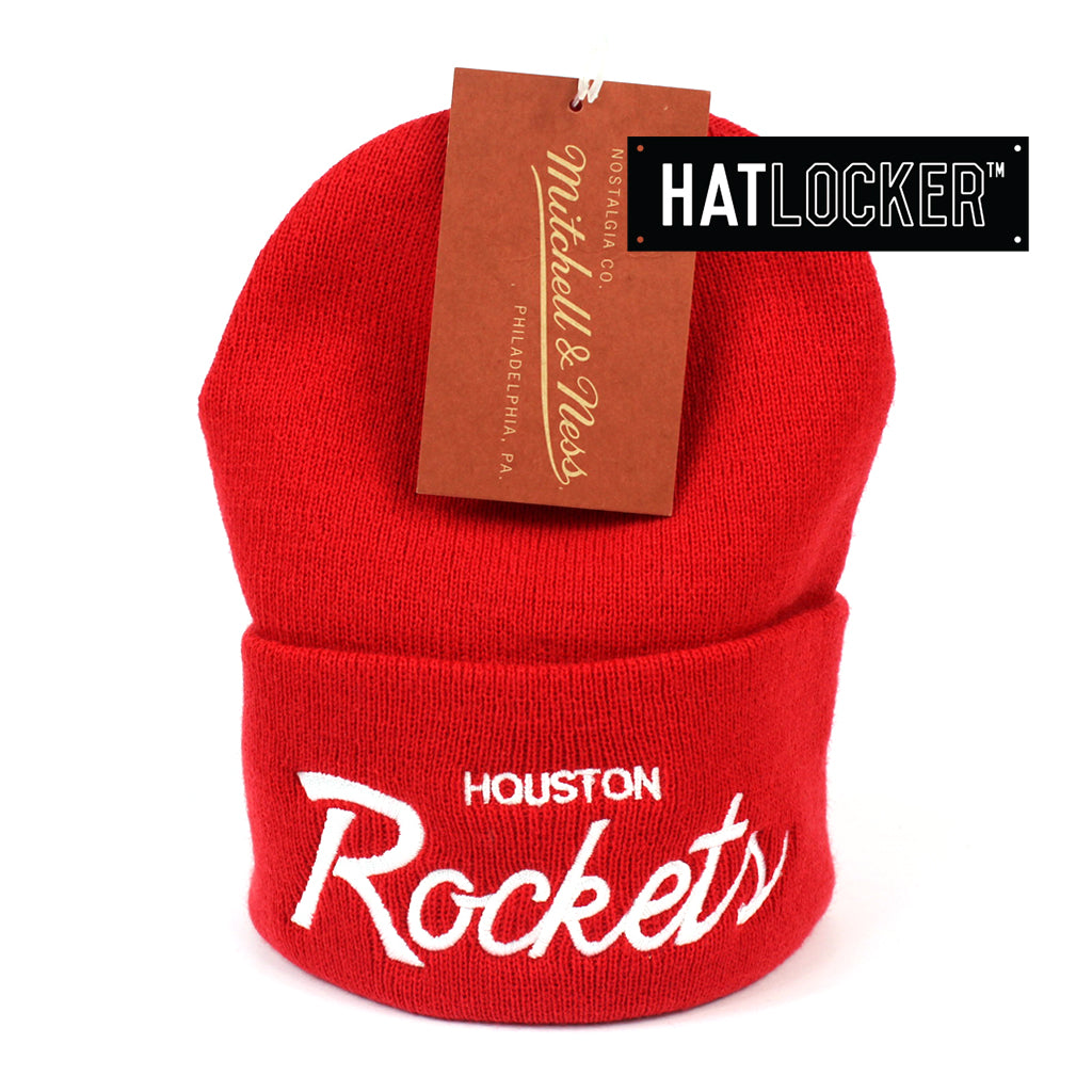 Mitchell and Ness Houston Rockets Special Script Red Knit Beanie