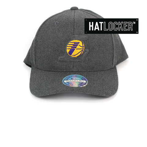 Mitchell & Ness LA Lakers Decon Grey Curved Snapback Australia
