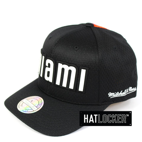 Mitchell   Ness Miami Heat Icon 110 Curved Snapback Hat 48876f030478