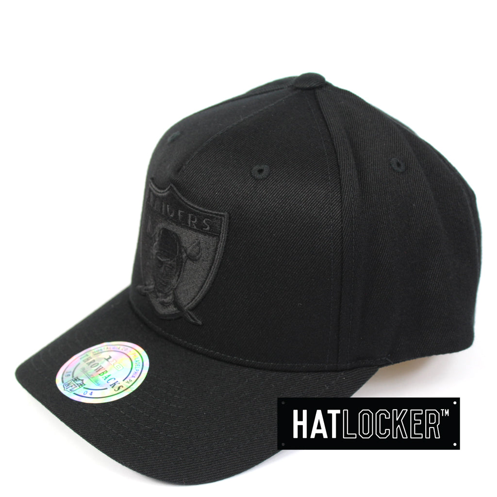 e346c6228 Mitchell & Ness | NFL Oakland Raiders All Black Curved Snapback Hat ...