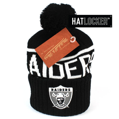 Mitchell and Ness Oakland Raiders BW Logo High 5 Bobble Knit Beanie