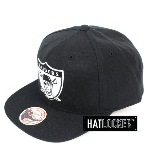 Mitchell and Ness Oakland Raiders B&W Logo High Crown Snapback Hat