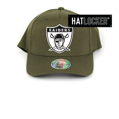 Mitchell & Ness Oakland Raiders Olive 110 Curved Snapback