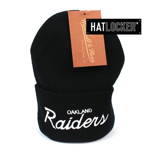Mitchell and Ness Oakland Raiders Special Script Black Knit Beanie