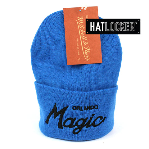 Mitchell and Ness Orlando Magic Special Script Royal Blue Knit Beanie