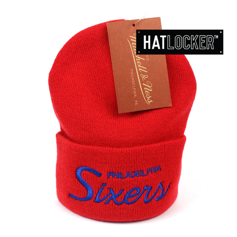 Mitchell and Ness Philadelphia 76ers Special Script Red Knit Beanie