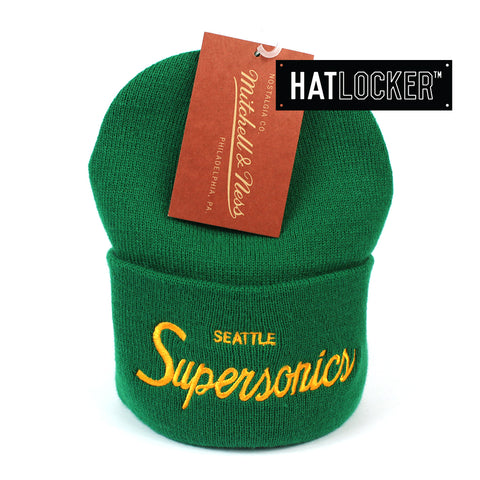 Mitchell and Ness Seattle SuperSonics Special Script Green Knit Beanie