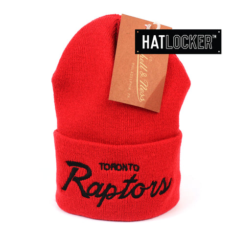 Mitchell and Ness Toronto Raptors Special Script Red Knit Beanie